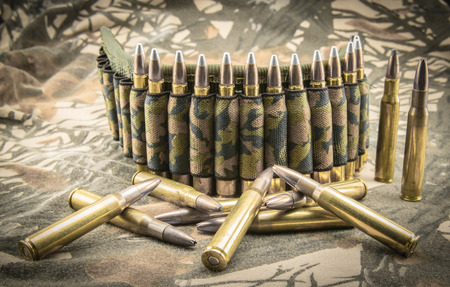9mm ammo: hollow-point ammunitions and camouflage ammunition belt for rifle