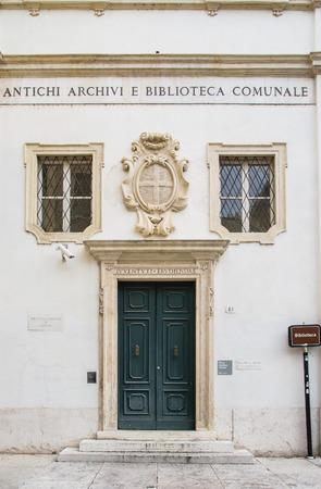municipal: Facade and entrance door of the municipal library of Verona. Stock Photo