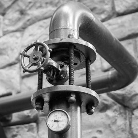 regulate: Manual valve to regulate the pressure in a brewery.
