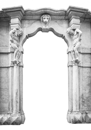 greece granite: Old white stone entrance with statues that support the side columns.