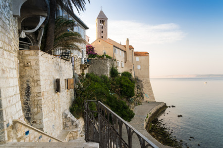 tourist resort: View of the town of Rab, Croatian tourist resort famous for its bell towers. Stock Photo