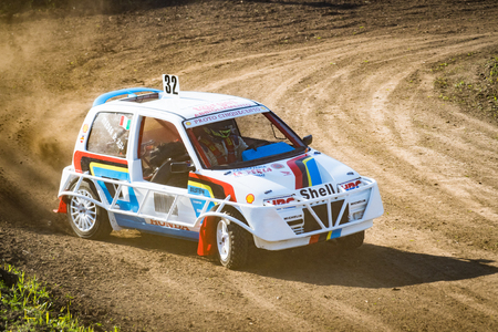roll bar: VERONA, Italy - November 8, 2015: Free demonstration of stock car cross organized by enthusiasts to bring the audience to the sport.