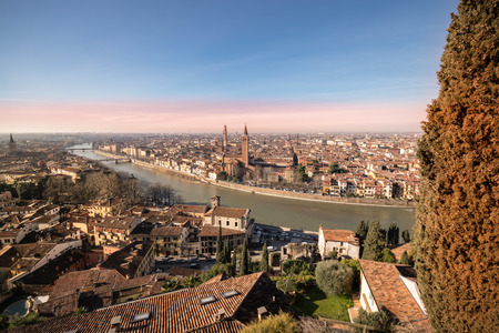 juliet: Panorama of Verona (Italy). The city of Romeo and Juliet view from the square of Castel San Pietro. Stock Photo