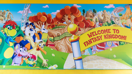madhouse: Castelnuovo del Garda, Italy - September 8, 2015: Mural painting at the entrance of the fantasy kingdom of Gardaland, the largest amusement park in Italy. Editorial