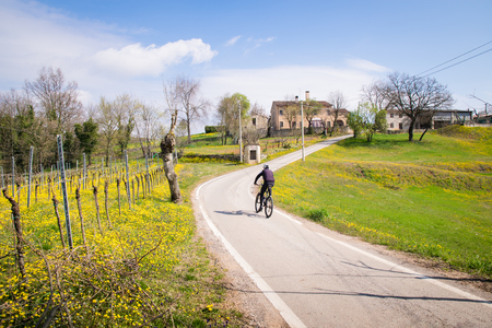 country roads: Roads between the Italian hills are ideal routes for cyclists. Stock Photo