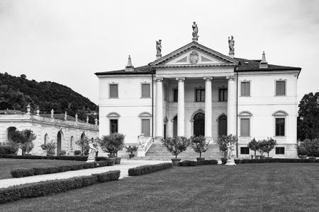 18th: Vicenza, Italy - May 13, 2015: Villa Cordellina Lombardi, built in 18th century on a design by architect Giorgio Massari. Editorial