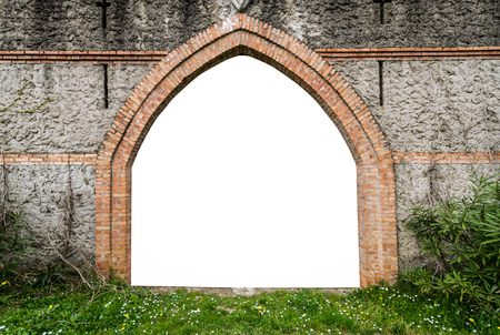 parapet wall: Arched entrance of a medieval castle suitable as a frame or border. Editorial