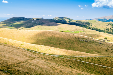 sinuous: View of meadows in the mountains that create sinuous lines. Stock Photo