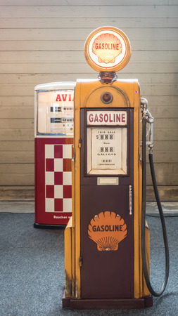 restored: Verona, Italy - May 9, 2015: Detail of an old fuel pump restored.