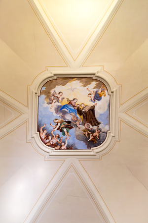 carmine: Marostica, Italy - April 12, 2016: Painted ceiling of the church of the Madonna del Carmine.