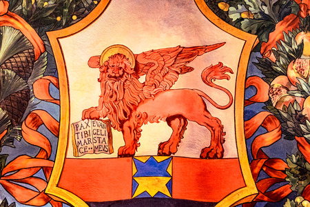 winged lion: Banner representing the winged lion of St. Marks Republic, Venice, Italy.