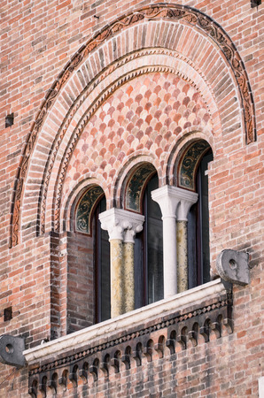 triple: Triple lancet window of Italian medieval palace.