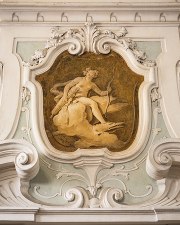 neo classical: The ornament of fireplace hood in a neo classical villa. Editorial