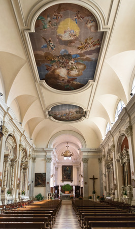 abbot: Marostica, Italy - April 12, 2016: Nave of the church of Saint Anthony Abbot.