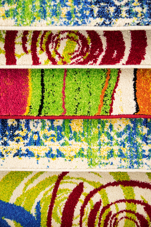 weft: Detail of colored weft of a woolen carpets. Stock Photo
