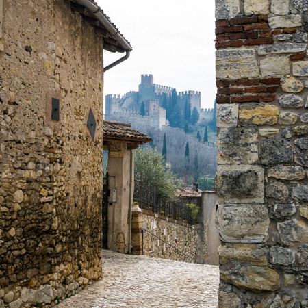 castle district: Medieval castle of Soave, Italy, seen from the district called Bassanella.