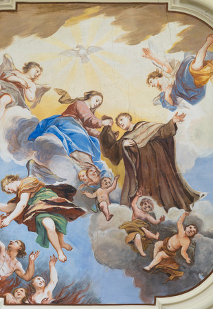 religious habit: Marostica, Italy - April 12, 2016: Painted ceiling detail of the church of the Madonna del Carmine.