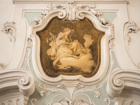 victorian fireplace: The ornament of fireplace hood in a neo classical villa. Stock Photo