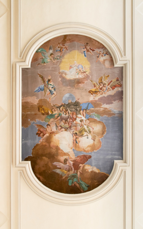 abbot: Marostica, Italy - April 12, 2016: Central fresco on the ceiling of the church of Saint Anthony Abbot representing the saint.