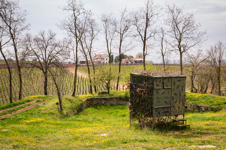 migratory: Camouflaged hut used to hunt migratory birds in Italy. Stock Photo