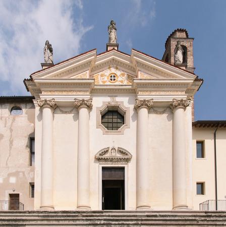 madonna: Church of the Madonna del Carmine, Marostica, Italy. Stock Photo