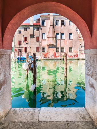 glimpse: Chioggia glimpse from the arcades along the canals.