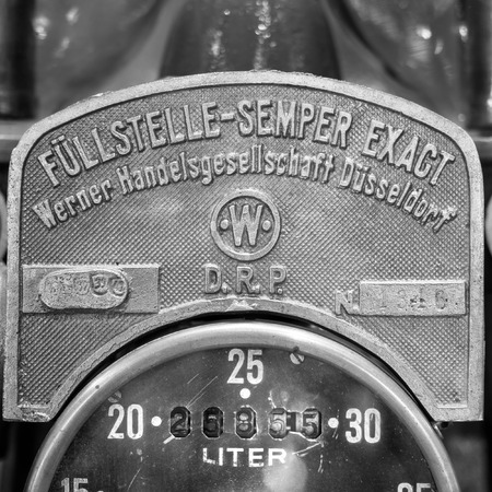 old service station: Verona, Italy - May 9, 2015: Detail of an old manual fuel pump. Editorial