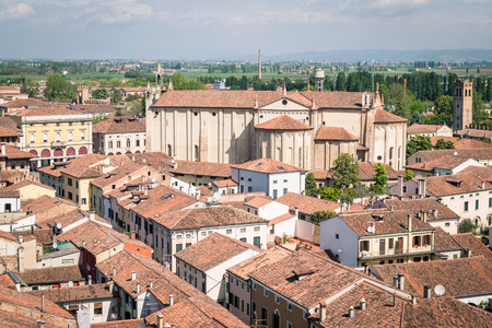 walled: Aerial view of the walled city of Montagnana, one of the most beautiful villages in Italy. Stock Photo