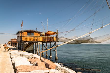south italy: Trabucco, trebuchet, trabocco - traditional fishing houses in south Italy.