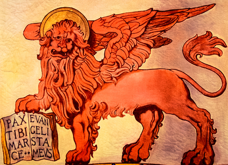 leon alado: Banner representing the winged lion of St. Marks Republic, Venice, Italy.
