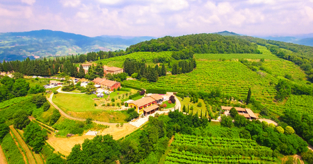 Aerial view of an old farmhouse in the hills around Soave, Italy.