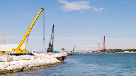 Construction site for the realization of the movable bulkheads system to save Venice from tides.