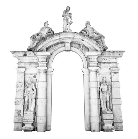 greece granite: Old white stone entrance with statues suitable as a frame or border.