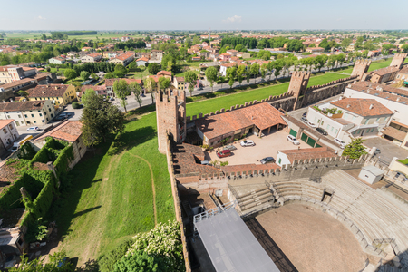 walled: Aerial view of the walled city of Montagnana, one of the most beautiful villages in Italy. Editorial
