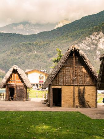 paleolithic pile-dwelling near Ledro lake, unesco site in north Italy