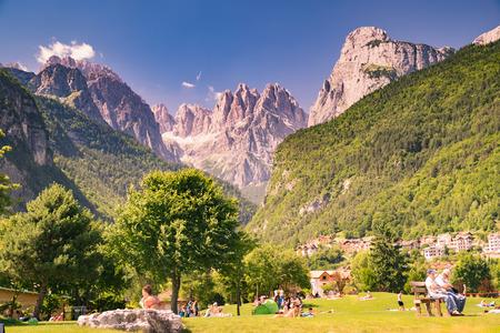 Molveno, Italy - June 10, 2015: Views of the Dolomites, Italian alps famous worldwide.