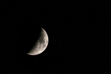crescent: Crescent moon surrounded by millions of bright stars. Stock Photo