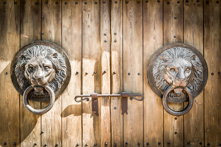 Antique door knocker shaped like a lions head.