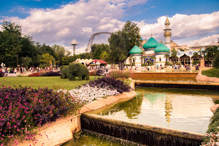 Castelnuovo Del Garda, Italy - September 8, 2015: Gardaland Theme Park in Castelnuovo Del Garda, Italy. Three million people visit the park on a yearly basis.