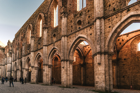 Remains of the Cistercian Abbey of San Galgano, situated near Siena, Italy.