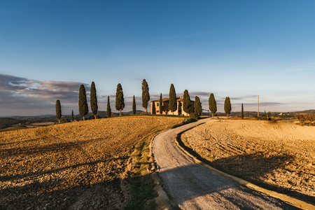 View of the hilly landscape in Tuscany, Italy. Stock Photo