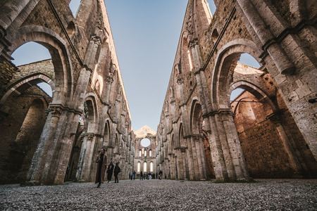 Siena, Italy - October 30, 2016: Remains of the Cistercian Abbey of San Galgano, situated near Siena, Italy.