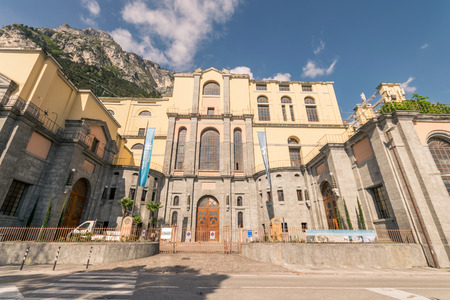 hydroelectricity: View of the hydroelectric power station of Riva del Garda, Trento, Italy. Stock Photo