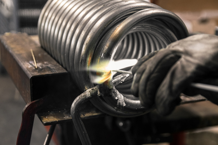 alloys: Braze welding process in a metalworking company.