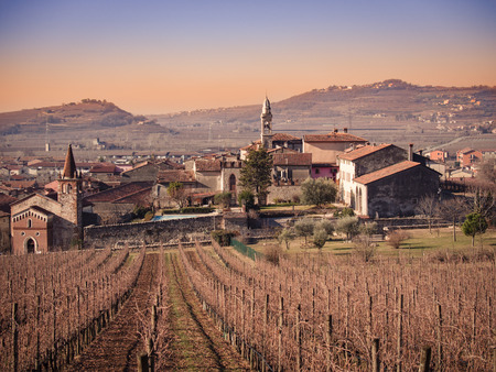 appreciated: View of Soave (Italy) surrounded by vineyards that produce one of the most appreciated Italian white wines.