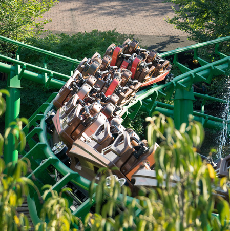 yearly: Castelnuovo Del Garda, Italy - September 8, 2015: Roller coaster at Gardaland Theme Park in Castelnuovo Del Garda, Italy. Three million people visit the park on a yearly basis. Editorial