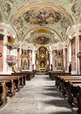 parish: San Candido, Italy - December 25, 2016: The parish church of San Candido is considered the most important and successful baroque church of the Puster Valley.
