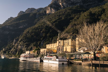 View of the hydroelectric power station of Riva del Garda, Trento, Italy. Stock Photo