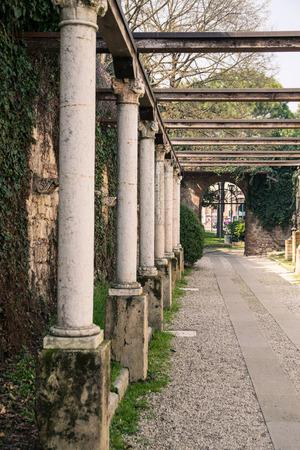 Colonnade leading to the tomb of Juliet, Verona, Italy. Stock Photo