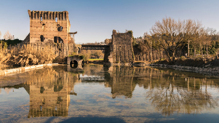 The Visconti Bridge in Valeggio is a bridge-dam built in the fourteenth century and located in the territory of Valeggio sul Mincio. It is commonly called long-bridge.